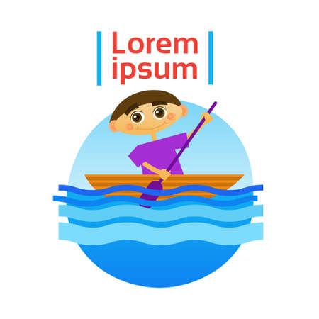 rowboat: Little Boy Boating Rowing Sport Training Hobby Flat Vector Illustration