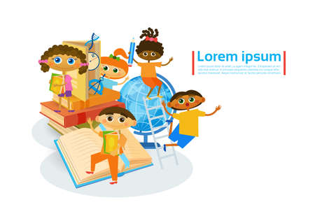 Kids Learing Together Small Children Visiting Classes Develop Hobbies Flat Vector Illustration Illustration