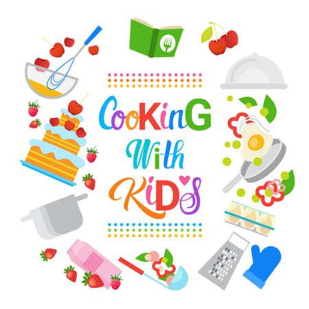 cuisiner avec des enfants enfants loisirs loisirs loisirs loisirs illustration vectorielle Vecteurs