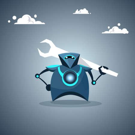 Modern Robot Holding Wrench Artificial Intelligence Futuristic Mechanism Technology Vector Illustration Illustration