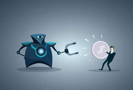 Modern Robot Holding Magnet Taking Money From Business Man Vector Illustration