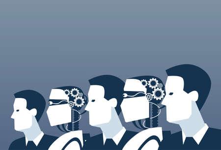 Gente Y Robots Inteligencia Humana Y Artificial Moderno Mecanismo Futurista Tecnología Ilustración Vectorial Ilustración de vector