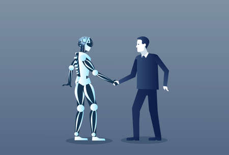 People And Robots Handshake Modern Human And Artificial Intelligence Futuristic Mechanism Technology Vector Illustration 免版税图像 - 82405218