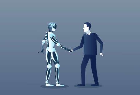 Personnes et Robots Poignée de main Moderne Intelligence Humaine et Artificielle Mécanisme Futuriste Technologie Vector Illustration Vecteurs