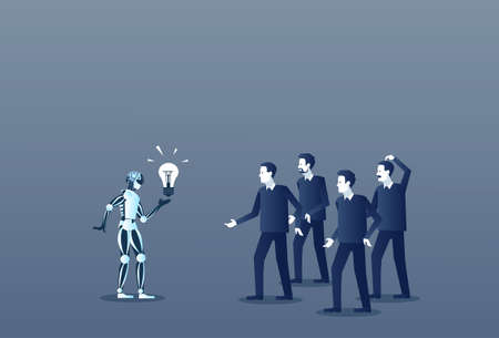Robot Showing Group Of People Light Bulb Business Concept Modern Artificial Intelligence Vector Illustration