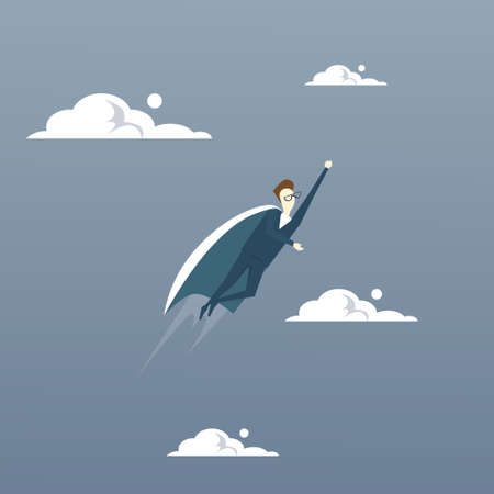 competitor: Businessman Fly Wear Hero Cape Success Concept Flat Vector Illustration