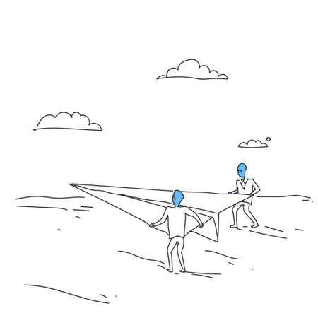 investor: Business People Launching Paper Plane Investor With New Startup Concept Doodle Vector Illustration