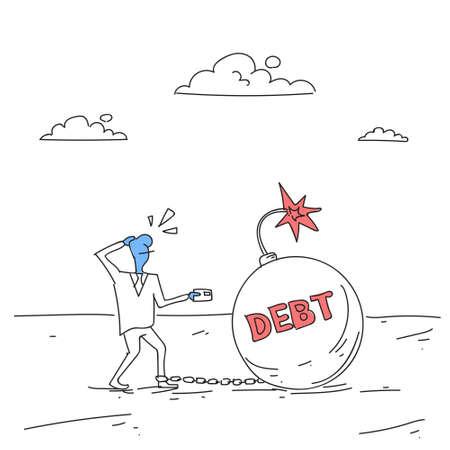 Business Man Chain Bound Legs Credit Debt Finance Crisis Concept Doodle Vector Illustration