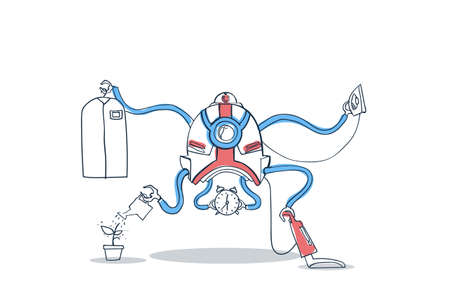 servicio domestico: Modern Robot Housekeeping Technology Artificial Intelligence Cleaning Mechanism Vector Illustration Vectores