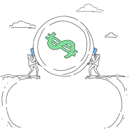 opportunity sign: Business Men Giving Coin Over Cliff Gap Partners Teamwork Financial Cooperation Concept Doodle Vector Illustration Illustration