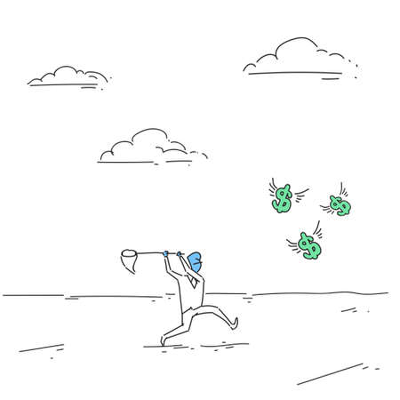 butterfly background: Business Man Catching Coins With Butterfly Net Finance Success Concept Doodle Vector Illustration