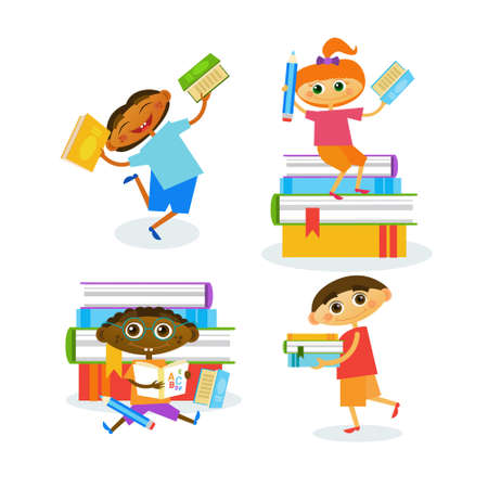 Set Of Kids With Books Reading Cute Children Happy Smiling Flat Vector Illustration