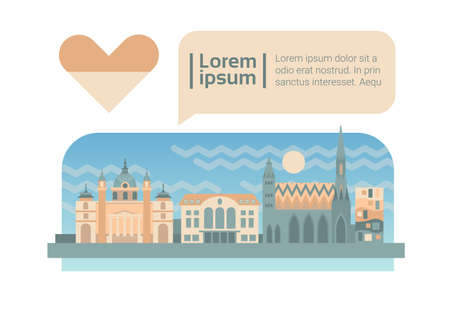 Vienna Street City Panorama Facade Skyline Cartoon Flat Vector Illustration 向量圖像