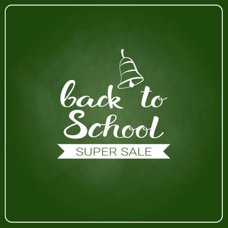 Back To School Chalked Label On Green Board Background Vector Illustration Illustration