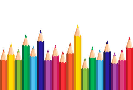 White Background With Colorful Pencils Set On Edge Copy Space Banner Flat Vector Illustration