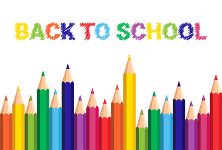 Regreso al cartel de la escuela Lápices de colores lápices de colores sobre fondo blanco Ilustración vectorial plana