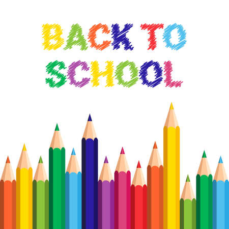 autumn colouring: Back To School Poster Colorful Crayons Pencils Brush Strokes On White Background Flat Vector Illustration