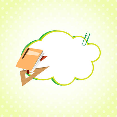 Cloud Sticker Decorated With School Supplies Icon Flat Vector Illustration Illustration
