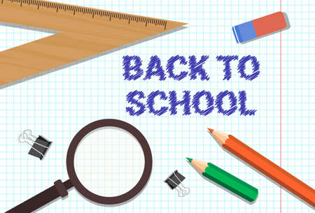 Welcome Back To School Poster Colorful Pencils Rubber Magnifying Glass And Rulers On Squared Notebook Background Flat Vector Illustration Illustration