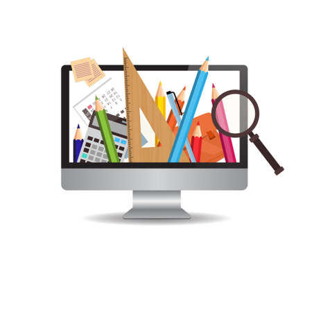 wireless: Computer Monitor With Image Of School Writing Supplies On White Background Flat Vector Illustration