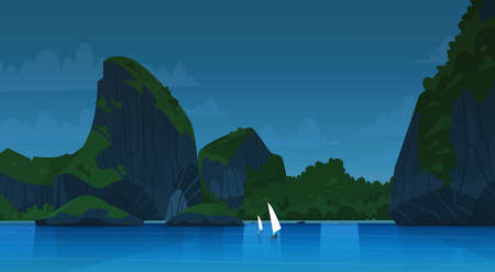 Sea landscape at night, beautiful Asian beach with mountain coast seaside view during summer flat vector illustration Illustration