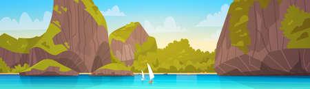 바다 풍경 산 코스트와 함께 아름 다운 아시아 해변 해변보기 여름 바다 플랫 벡터 일러스트 레이션 일러스트