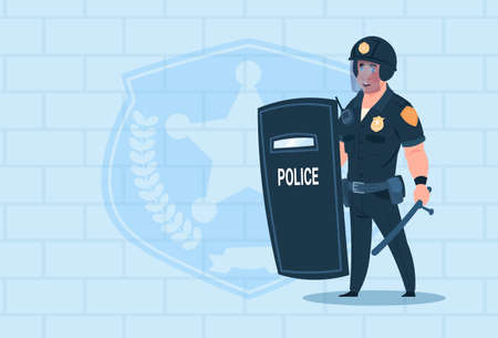 Policeman Hold Shield Wearing Helmet Uniform Cop Guard Over Brick Background Flat Vector Illustration
