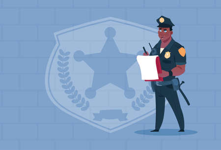 벽돌 배경 플랫 벡터 일러스트 레이 션을 통해 균일 한 경찰 경비를 착용하는 보고서를 작성하는 아프리카 계 미국인 경찰
