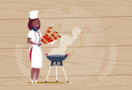 Female African American Chef Cook Holding Kebab Cartoon Chief In Restaurant Uniform Over Wooden Textured Background Flat Vector Illustration Illustration