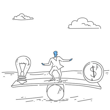 decline in values: Businessman Balancing Between Plus And Minus Business Stability Concept Vector Illustration