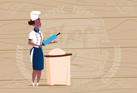 Female African American Chef Cook Working With Dough Cartoon Chief In Restaurant Uniform Over Wooden Textured Background Flat Vector Illustration