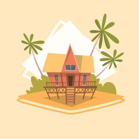 Van de het Pictogramzomer van de bungalowhuis van de Overzeese van de de Vakantiezomer de Vakantie Vectorillustratie