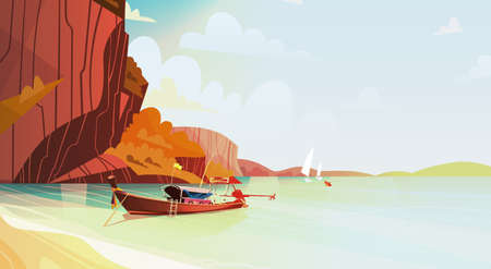 Tajlandia Krajobraz Long Tail Boat Seascape Pi? Kna Azja Pla? A Pla? A Widok Flat Vector Illustration Ilustracje wektorowe