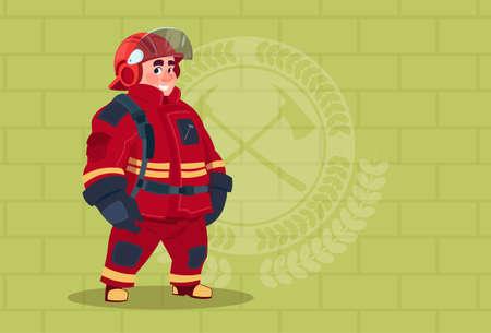 Fireman Wearing Uniform And Helmet Adult Fire Fighter Stand Over Brick Background Flat Vector Illustration Illustration