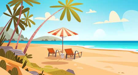 Sommerurlaub Liegestühle auf Meer Strandlandschaft Schöne Meerlandschaft Banner Urlaub am Meer Vektor-Illustration Vektorgrafik
