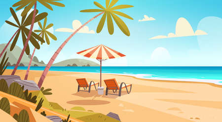 Summer Vacation Loungers On Sea Beach Landscape Beautiful Seascape Banner Seaside Holiday Vector Illustration Çizim