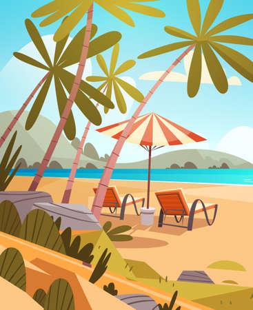 cartoon umbrella: Summer Vacation Loungers On Sea Beach Landscape Beautiful Seascape Banner Seaside Holiday Vector Illustration Illustration