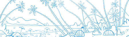 Summer Vacation Loungers On Sea Beach Landscape Beautiful Seascape Banner Seaside Holiday Vector Illustration Illustration