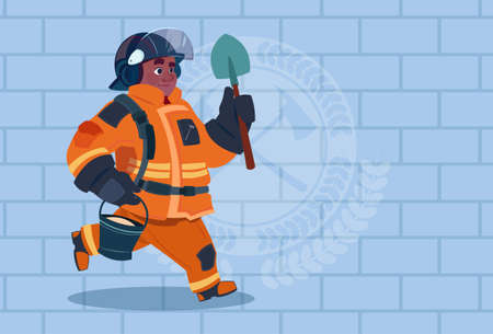 African American Fireman Running With Shovel And Bucket Uniform And Helmet Adult Fire Fighter Over Brick Background Flat Vector Illustration