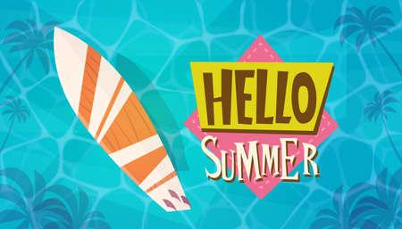 wave hello: Hello Summer Vacation Sea Travel Retro Banner Seaside Holiday Flat Vector Illustration