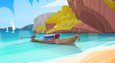 Tajlandia Krajobraz Long Tail Boat Seascape Pi? Kna Azja Pla? A Pla? A Widok Flat Vector Illustration