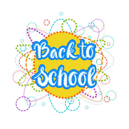 Back To School  Colorful Text On White Background Flat Vector Illustration
