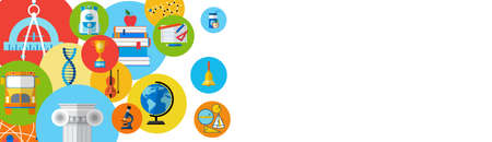 School Supplies On Edge Of Horizontal Banner With Copy Space Flat Vector Illustration
