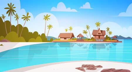 빌라 호텔과 함께 바다 해안 비치 아름다운 해변 가로 여름 휴가 개념 플랫 벡터 일러스트