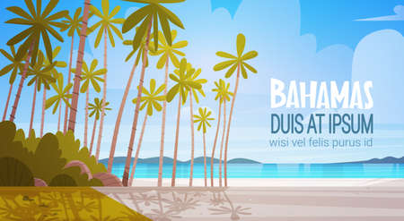 Bahamans 海海岸ビーチ美しい海辺の風景夏休みコンセプト フラット ベクトル イラスト  イラスト・ベクター素材