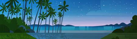Sea Shore Beach After Sunset Beautiful Seaside Night Landscape Summer Vacation Concept Flat Vector Illustration Illustration