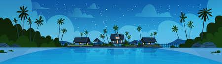 Sea Shore Beach With Villa Hotel Beautiful Seaside Landscape At Night Summer Vacation Concept Flat Vector Illustration