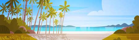 Van de het Strandlandschap van de overzeese Kust de Mooie van de het Landschapszomer Vakantieconcept Vlakke Vectorillustratie