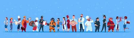 Persone gruppo diverso occupazione Set, dipendenti Mix Race Illustrazione lavoratori Banner piatto Vector Vettoriali