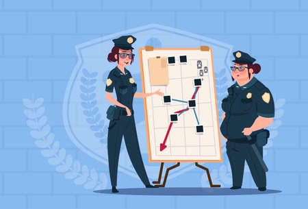 Two Police Women Planning Action On White Board Wearing Uniform Female Guards On Blue Bricks Background Flat Vector Illustration Vettoriali